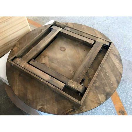 Table vintage ronde en bois 150cm pour 8-10 personnes