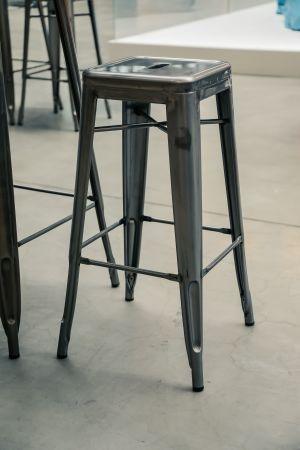 Tabouret de bar haut Tolix Industriel acier brossé