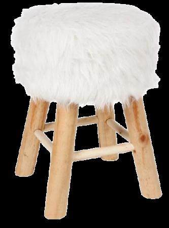 Tabouret fourrure blanche