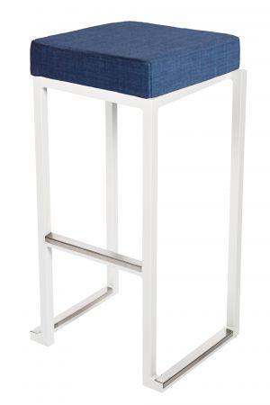 Tabouret haut Kubo Blanc - Pouf tissus Bleu