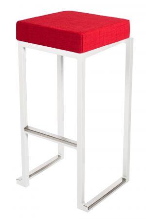 Tabouret haut Kubo Blanc - Pouf tissus Rouge