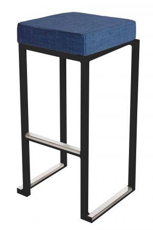 Tabouret haut Kubo Noir - Pouf tissus Bleu