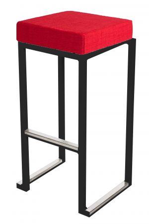 Tabouret haut Kubo Noir - Pouf tissus Rouge