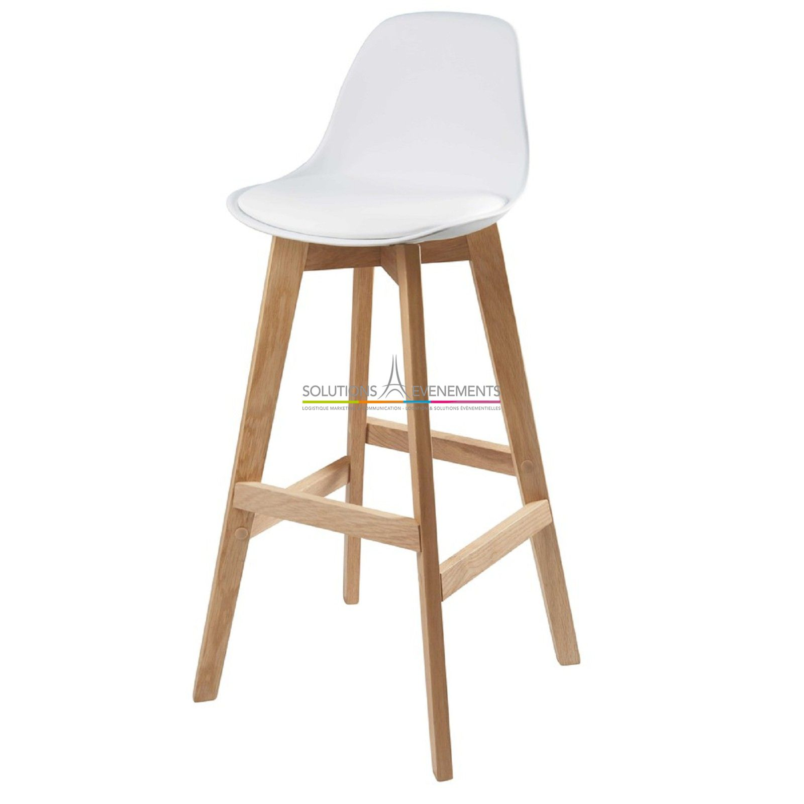 Location Tabouret Bar Haut Scandinave Oslo Blanc