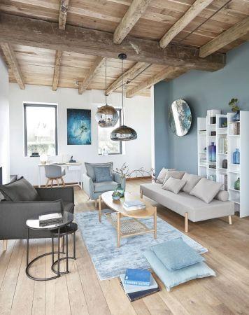 Tapis contemporain bleu